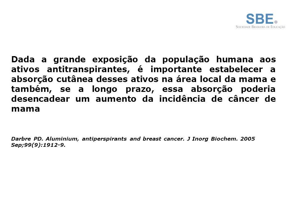Dada a grande exposição da população humana aos ativos antitranspirantes, é importante estabelecer a absorção cutânea desses ativos na área local da mama e também, se a longo prazo, essa absorção poderia desencadear um aumento da incidência de câncer de mama