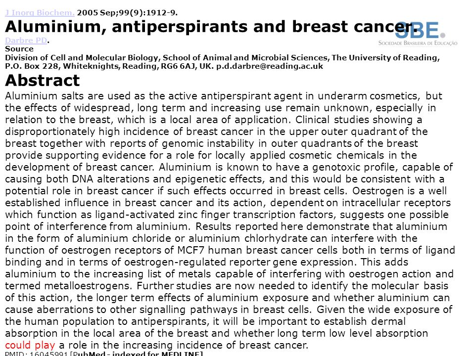 Aluminium, antiperspirants and breast cancer.