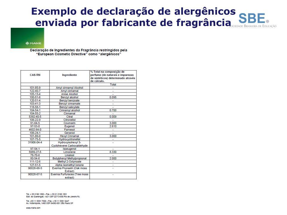 Exemplo de declaração de alergênicos enviada por fabricante de fragrância