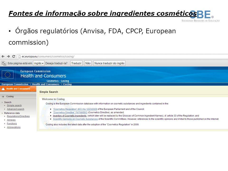 Fontes de informação sobre ingredientes cosméticos