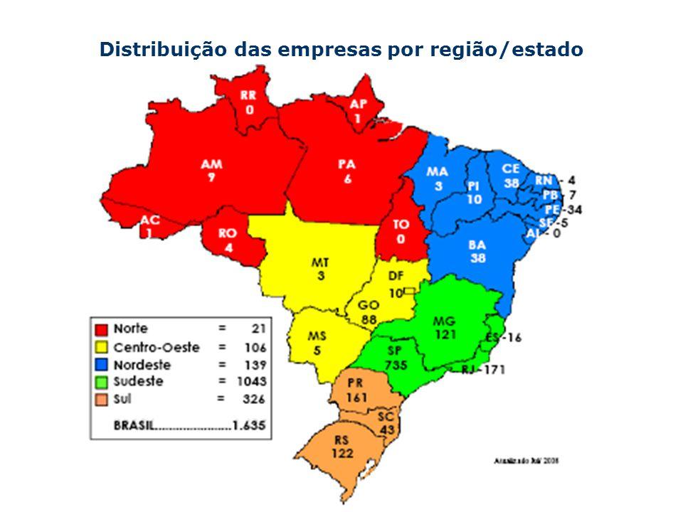 Distribuição das empresas por região/estado