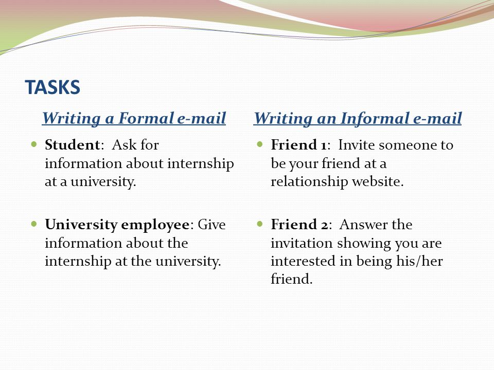 Writing a Formal e-mail