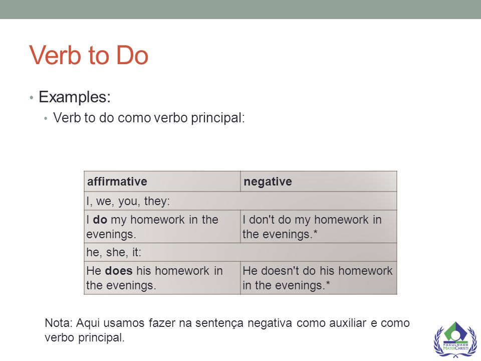 Verb to Do Examples: Verb to do como verbo principal: affirmative