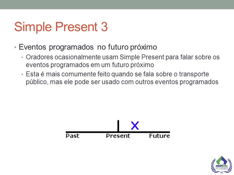 Simple Present 3 Eventos programados no futuro próximo