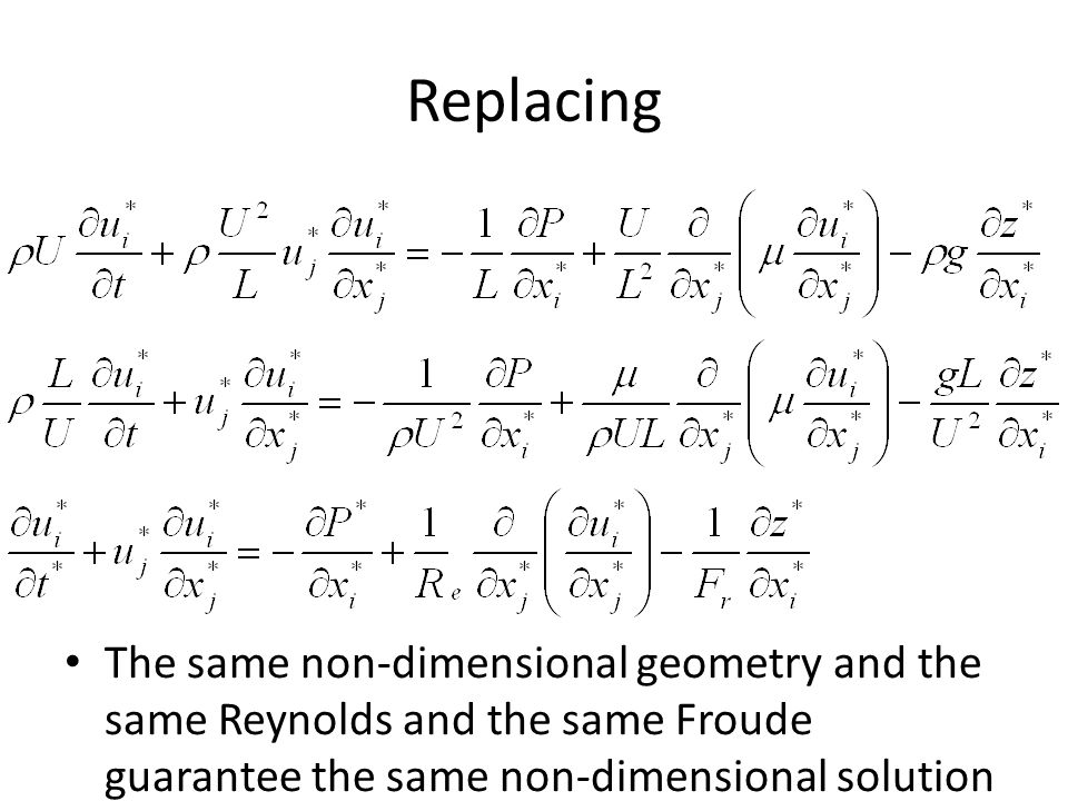 Replacing The same non-dimensional geometry and the same Reynolds and the same Froude guarantee the same non-dimensional solution.
