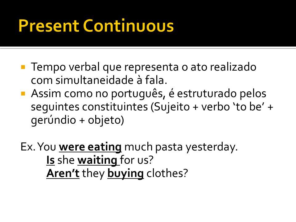 Present Continuous Tempo verbal que representa o ato realizado com simultaneidade à fala.