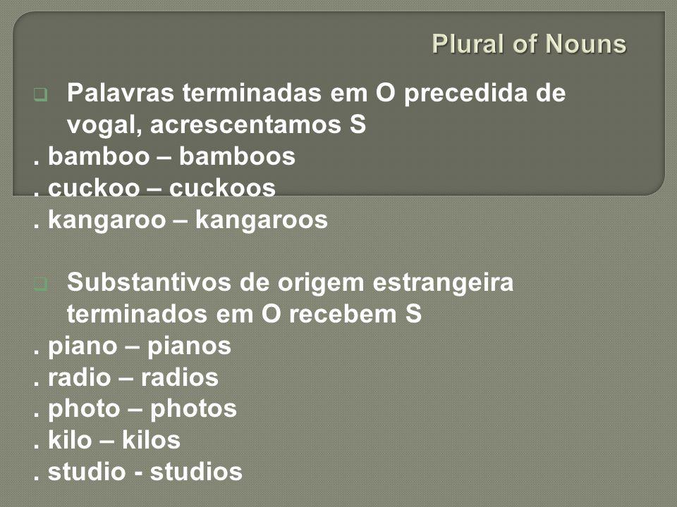 Plural of Nouns Palavras terminadas em O precedida de vogal, acrescentamos S. . bamboo – bamboos. . cuckoo – cuckoos.