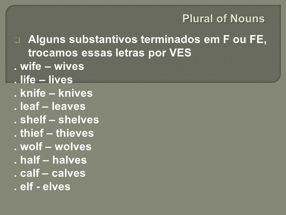 Plural of Nouns Alguns substantivos terminados em F ou FE, trocamos essas letras por VES. . wife – wives.