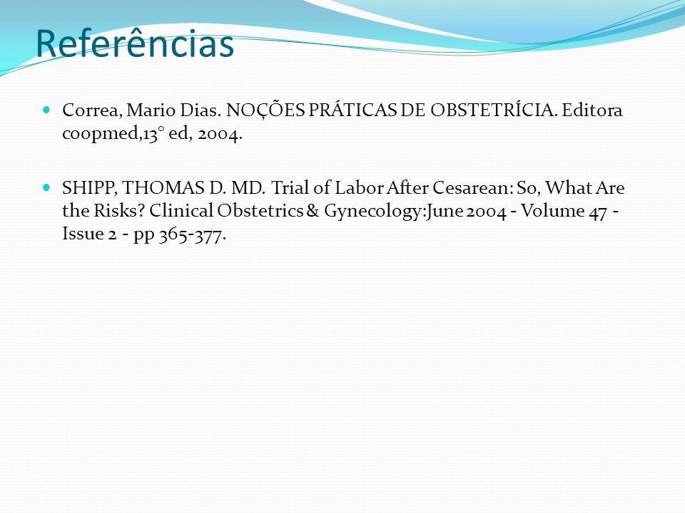 Referências Correa, Mario Dias. NOÇÕES PRÁTICAS DE OBSTETRÍCIA. Editora coopmed,13° ed, 2004.