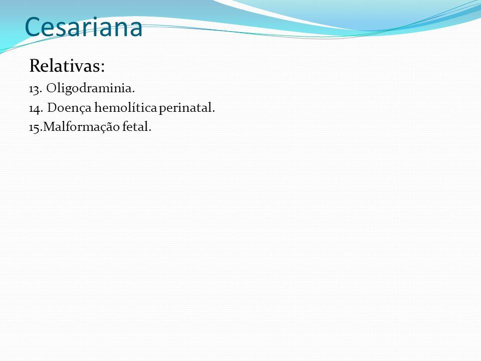 Cesariana Relativas: 13. Oligodraminia.