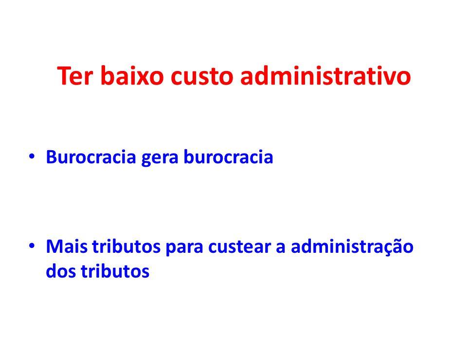 Ter baixo custo administrativo