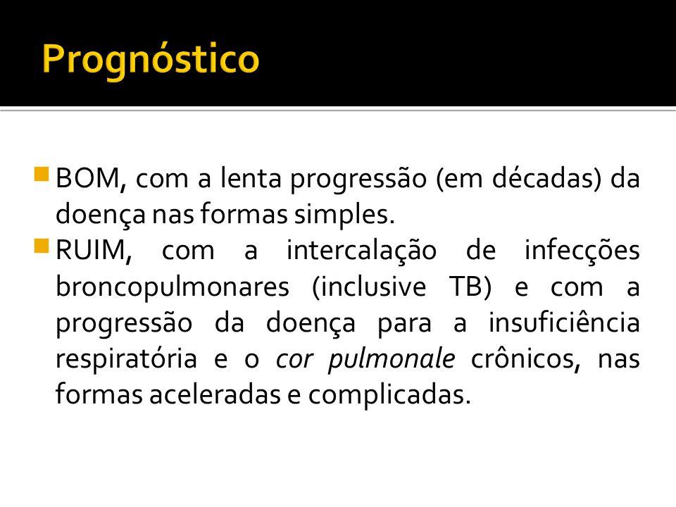 Prognóstico BOM, com a lenta progressão (em décadas) da doença nas formas simples.