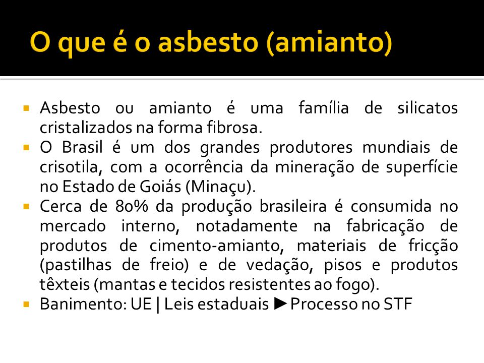 O que é o asbesto (amianto)