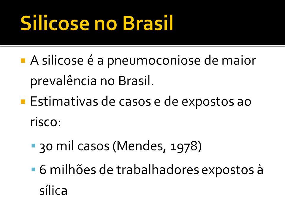 Silicose no Brasil A silicose é a pneumoconiose de maior prevalência no Brasil. Estimativas de casos e de expostos ao risco: