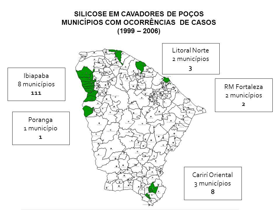 SILICOSE EM CAVADORES DE POÇOS MUNICÍPIOS COM OCORRÊNCIAS DE CASOS