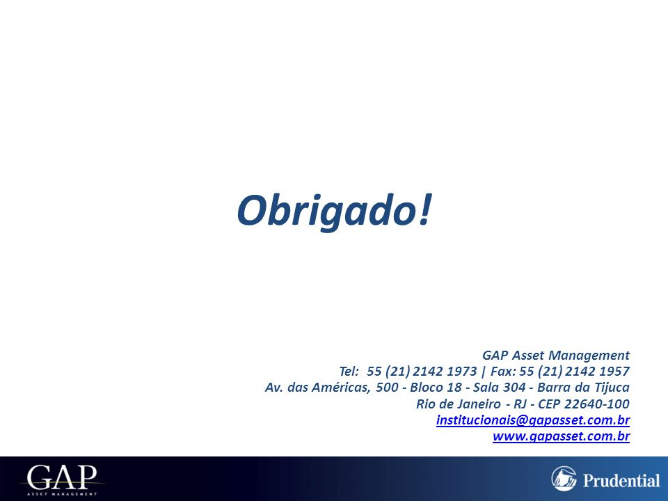 Obrigado! GAP Asset Management