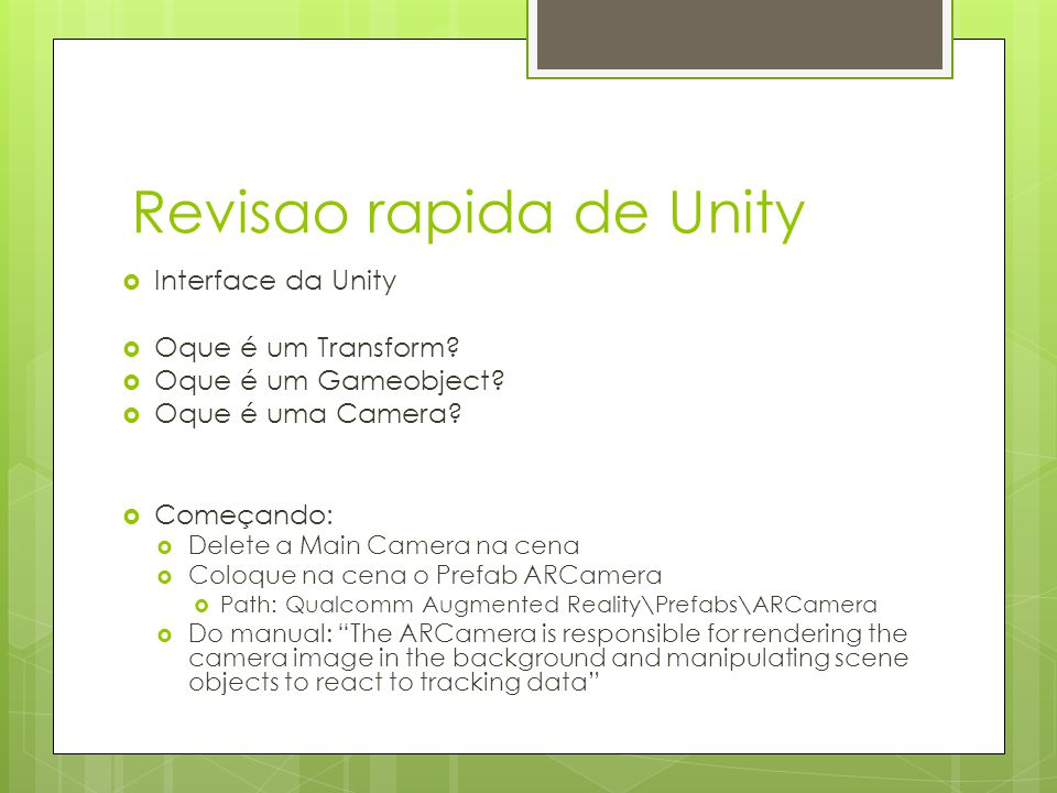 Revisao rapida de Unity