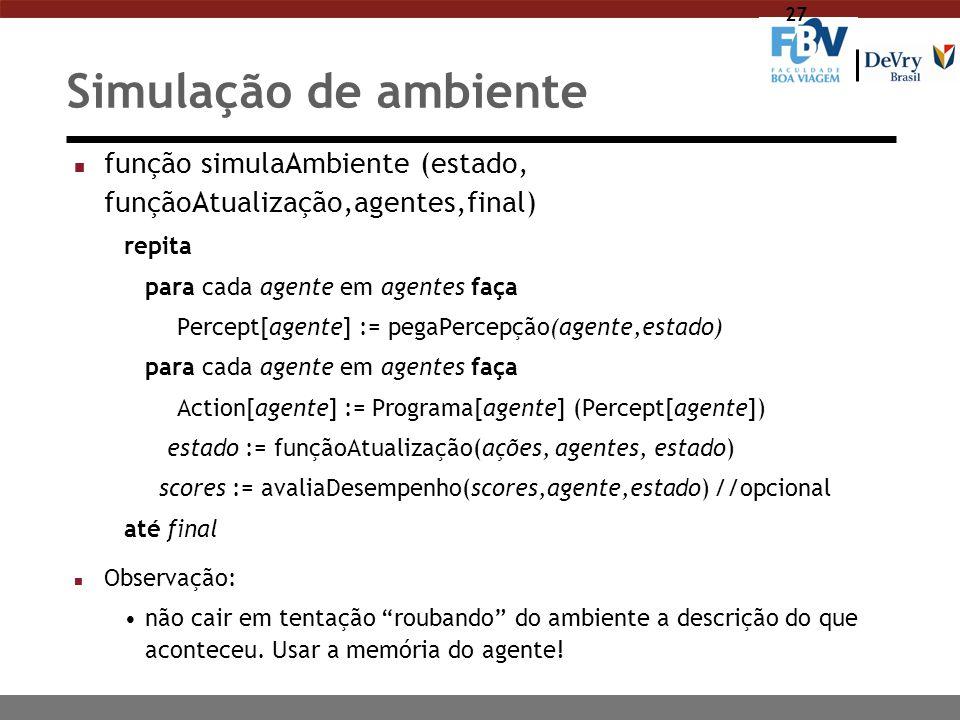 Simulação de ambiente função simulaAmbiente (estado, funçãoAtualização,agentes,final) repita. para cada agente em agentes faça.