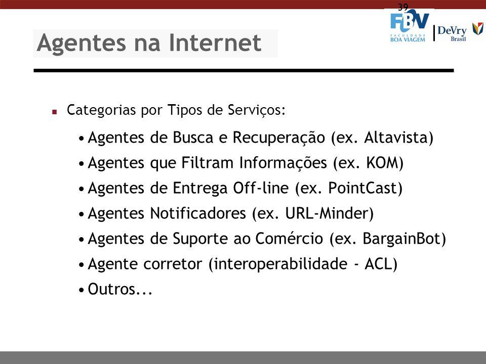Agentes na Internet Agentes de Busca e Recuperação (ex. Altavista)
