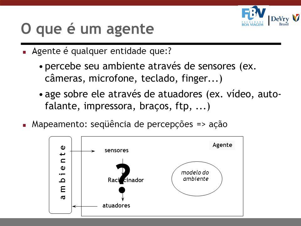O que é um agente Agente é qualquer entidade que: percebe seu ambiente através de sensores (ex. câmeras, microfone, teclado, finger...)