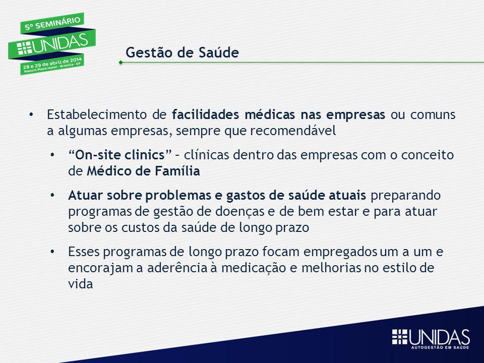 Gestão de Saúde Estabelecimento de facilidades médicas nas empresas ou comuns a algumas empresas, sempre que recomendável.