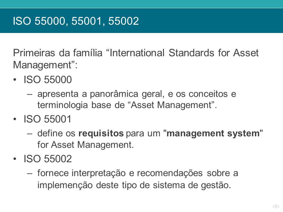 ISO 55000, 55001, 55002 Primeiras da família International Standards for Asset Management : ISO 55000.