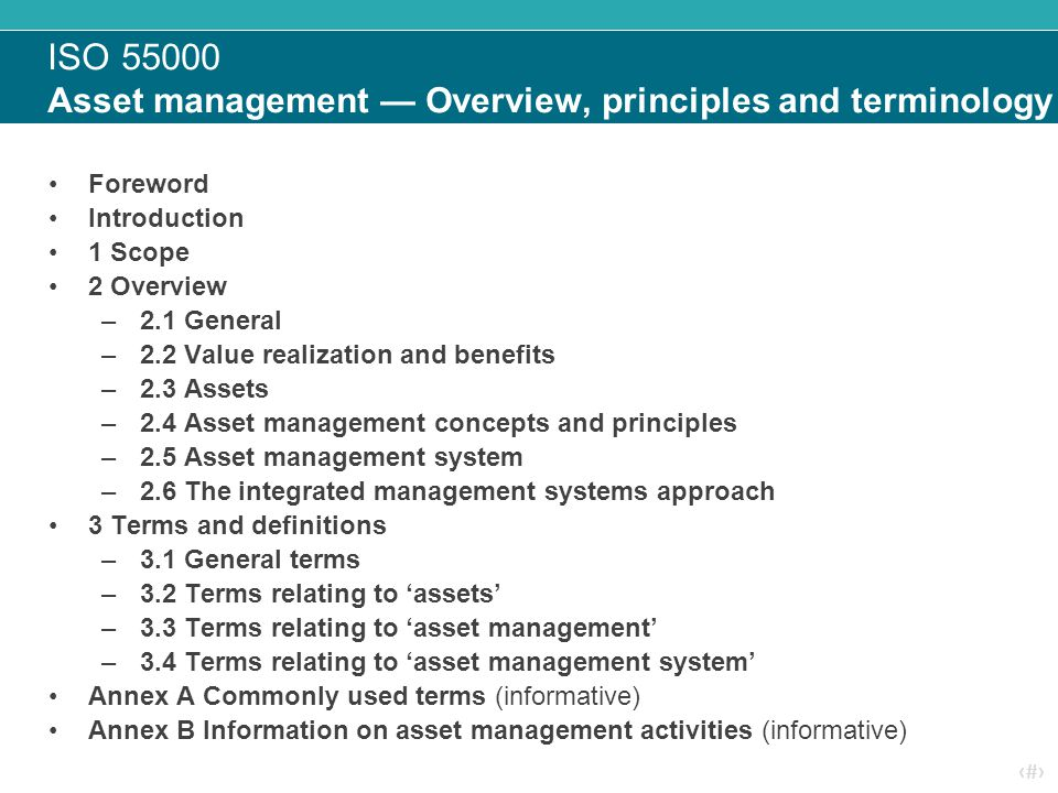 ISO 55000 Asset management — Overview, principles and terminology