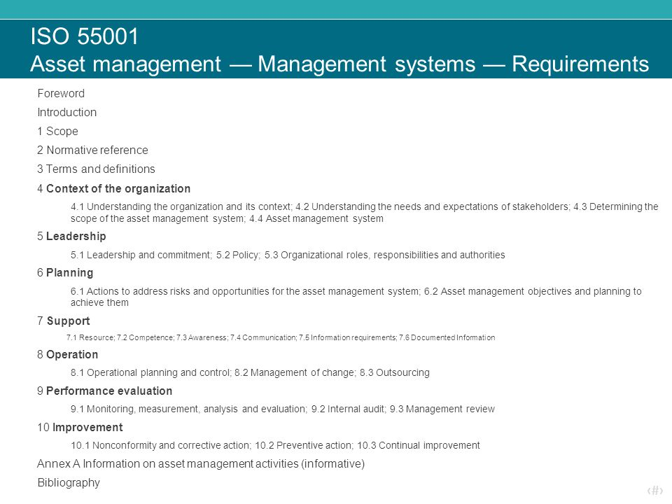 ISO 55001 Asset management — Management systems — Requirements