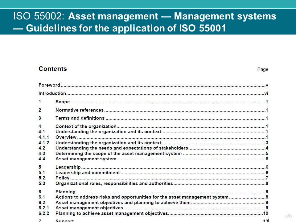 ISO 55002: Asset management — Management systems — Guidelines for the application of ISO 55001