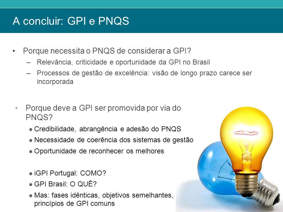 A concluir: GPI e PNQS Porque necessita o PNQS de considerar a GPI