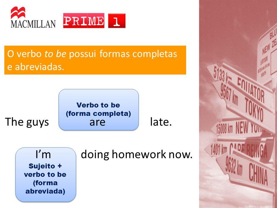Sujeito + verbo to be (forma abreviada)
