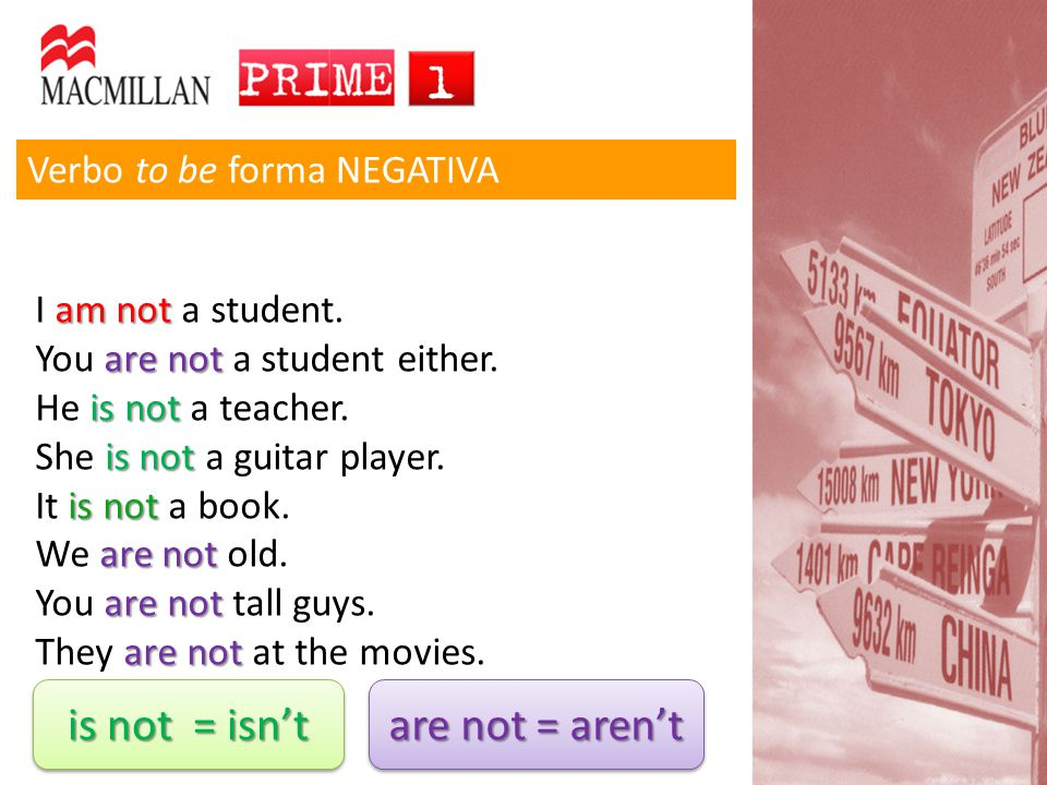 is not = isn't are not = aren't Verbo to be forma NEGATIVA