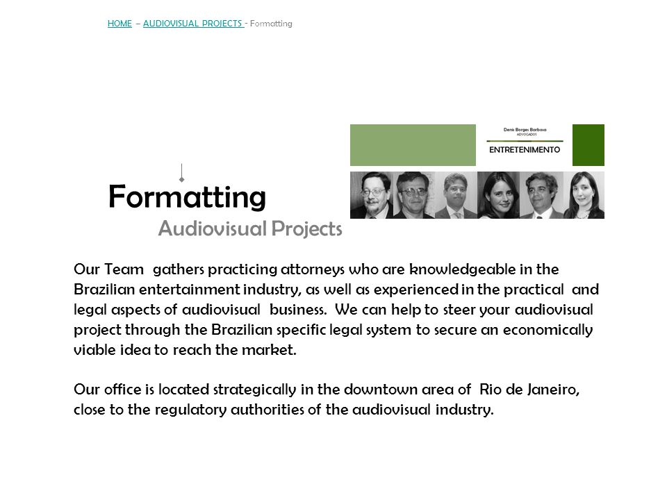 HOME – AUDIOVISUAL PROJECTS - Formatting