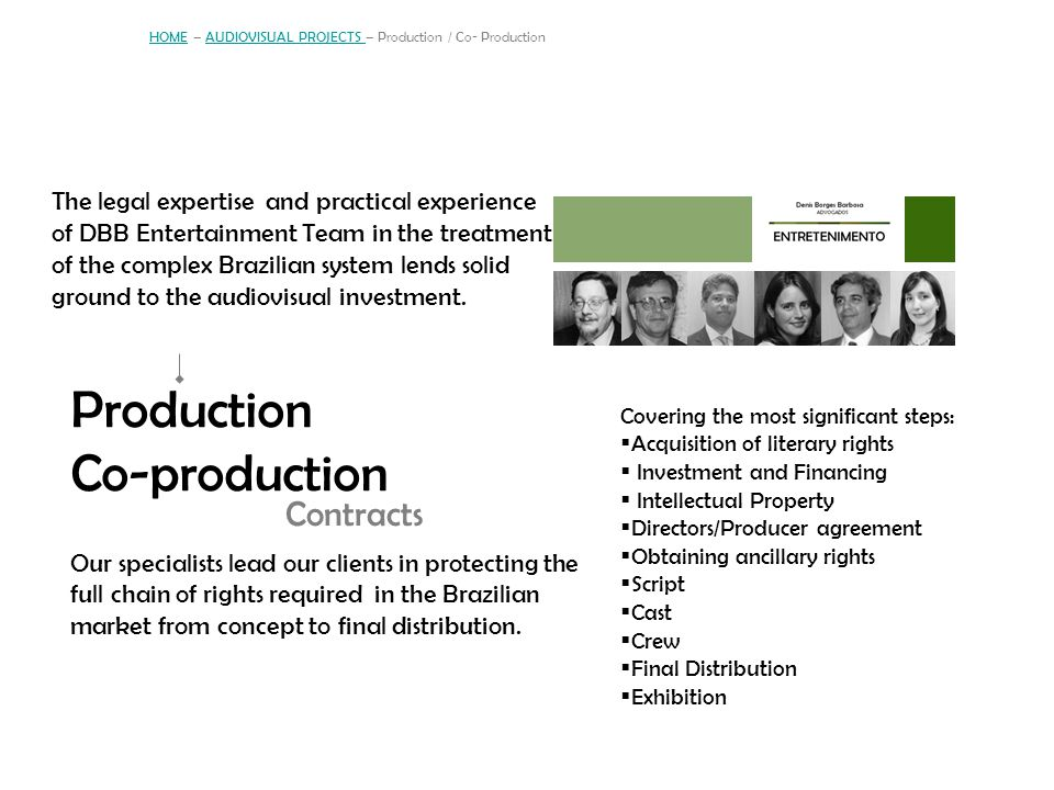 HOME – AUDIOVISUAL PROJECTS – Production / Co- Production