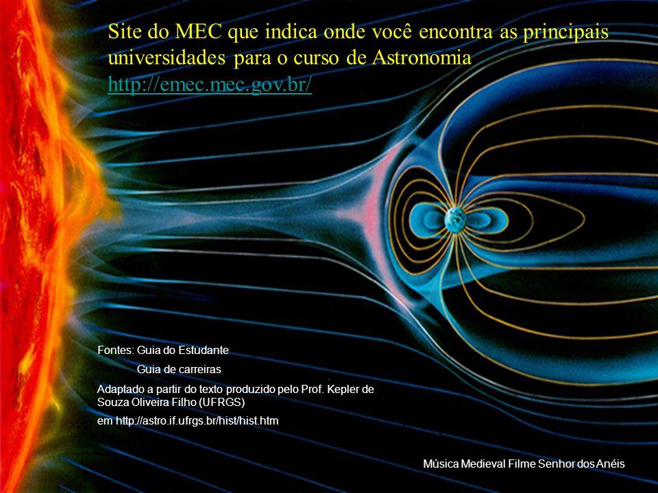 Site do MEC que indica onde você encontra as principais universidades para o curso de Astronomia