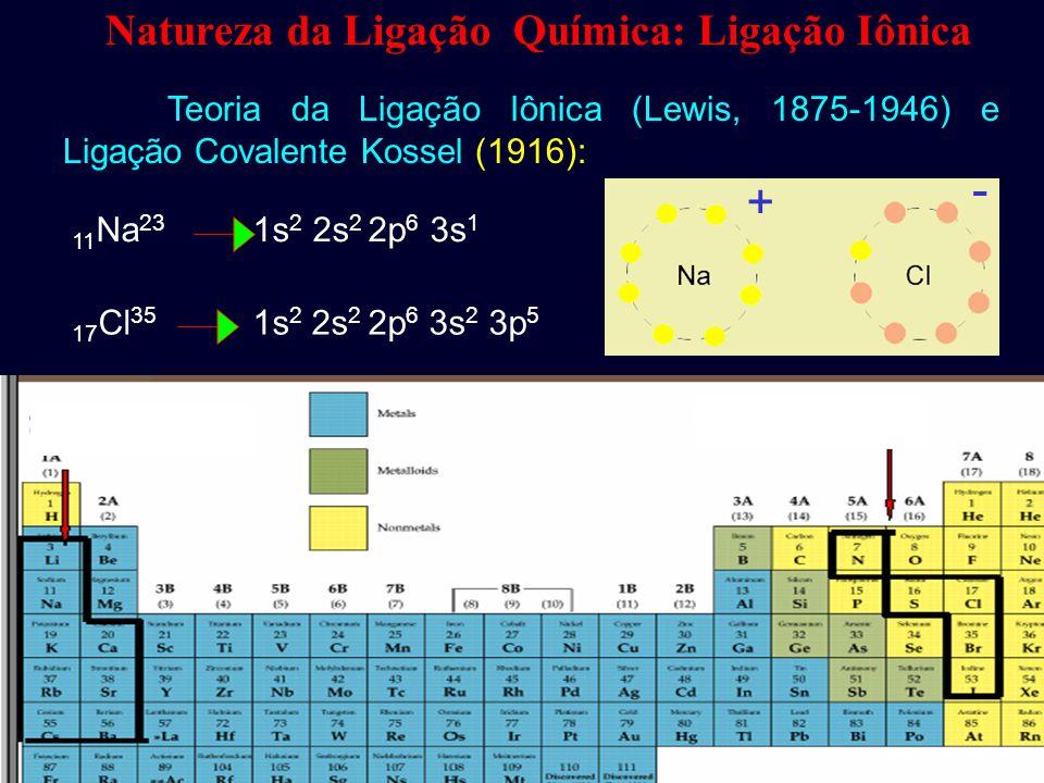 - + Natureza da Ligação Química: Ligação Iônica