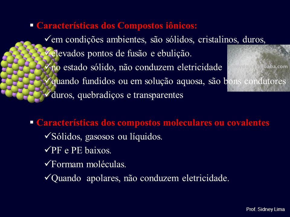 Características dos Compostos iônicos: