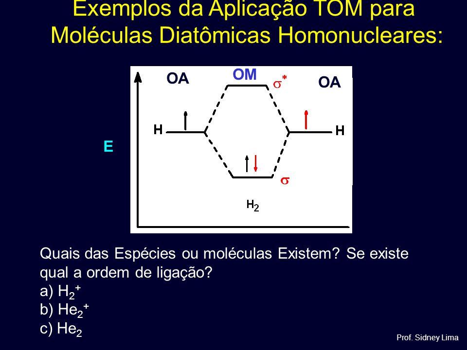 Exemplos da Aplicação TOM para Moléculas Diatômicas Homonucleares: