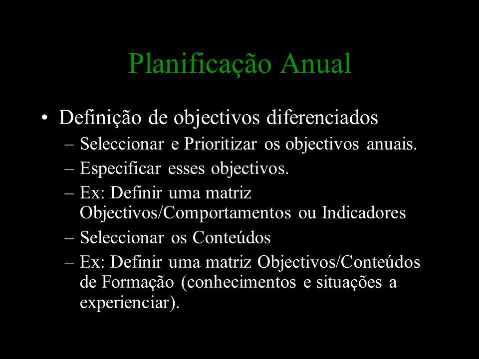 Planificação Anual Definição de objectivos diferenciados