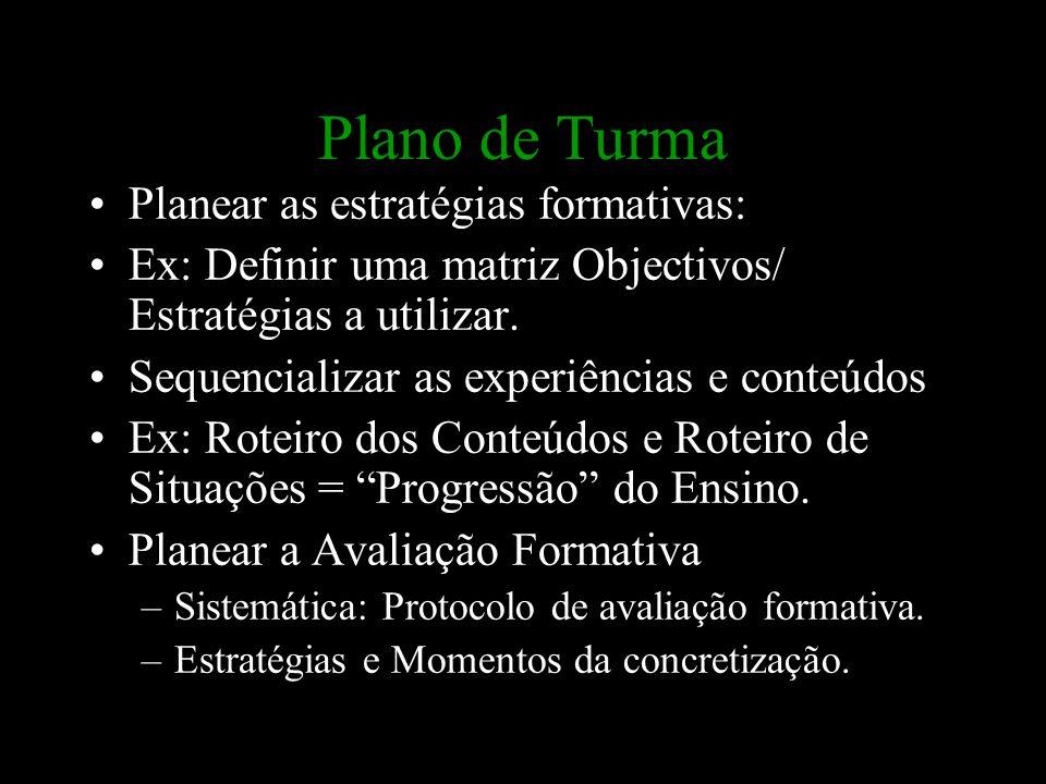 Plano de Turma Planear as estratégias formativas: