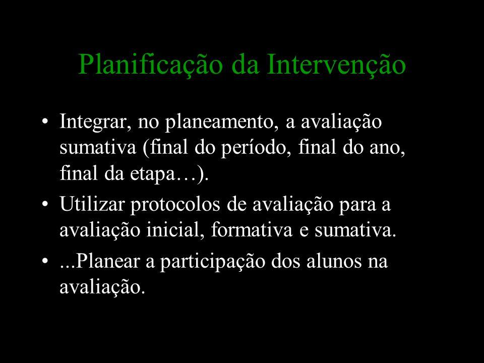 Planificação da Intervenção