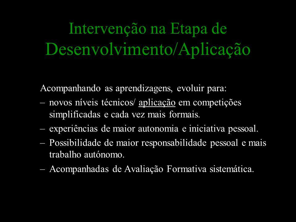 Intervenção na Etapa de Desenvolvimento/Aplicação