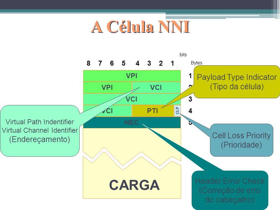 A Célula NNI CARGA Payload Type Indicator (Tipo da célula)