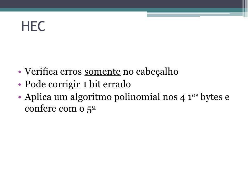 HEC Verifica erros somente no cabeçalho Pode corrigir 1 bit errado