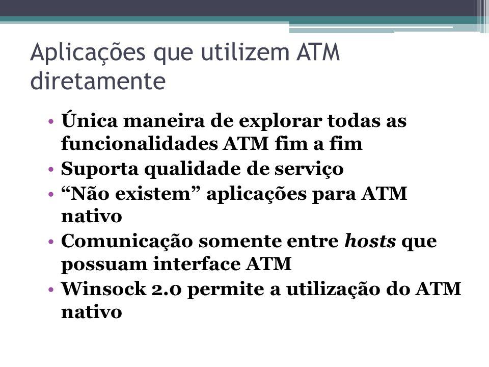 Aplicações que utilizem ATM diretamente