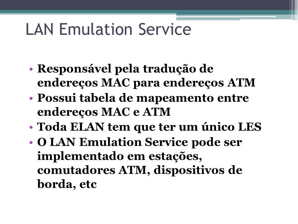 LAN Emulation Service Responsável pela tradução de endereços MAC para endereços ATM. Possui tabela de mapeamento entre endereços MAC e ATM.