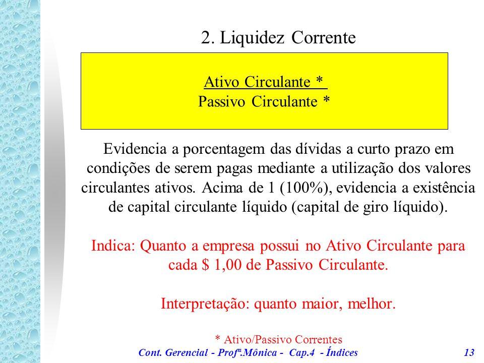 Cont. Gerencial - Profª.Mônica - Cap.4 - Índices 13