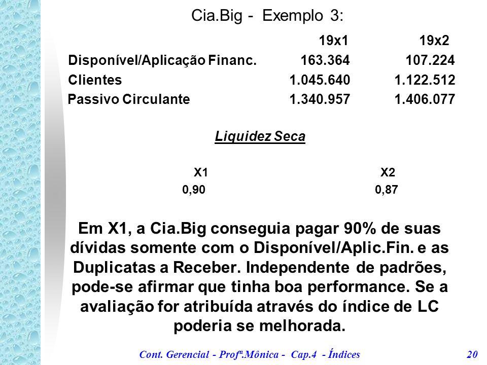 Cia.Big - Exemplo 3: 19x1 19x2. Disponível/Aplicação Financ. 163.364 107.224. Clientes 1.045.640 1.122.512.