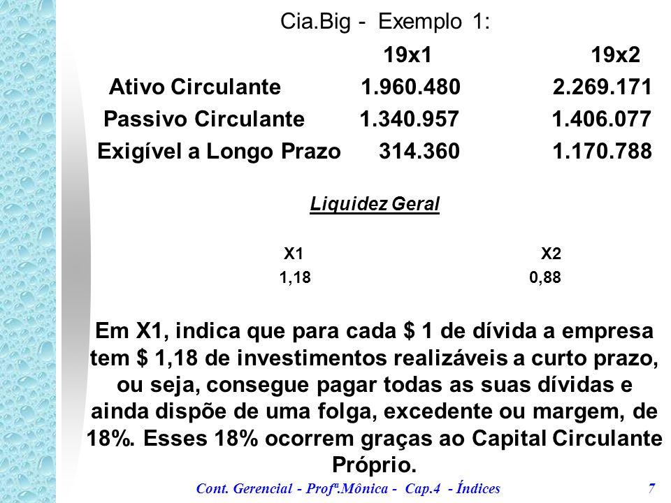 Cont. Gerencial - Profª.Mônica - Cap.4 - Índices 7