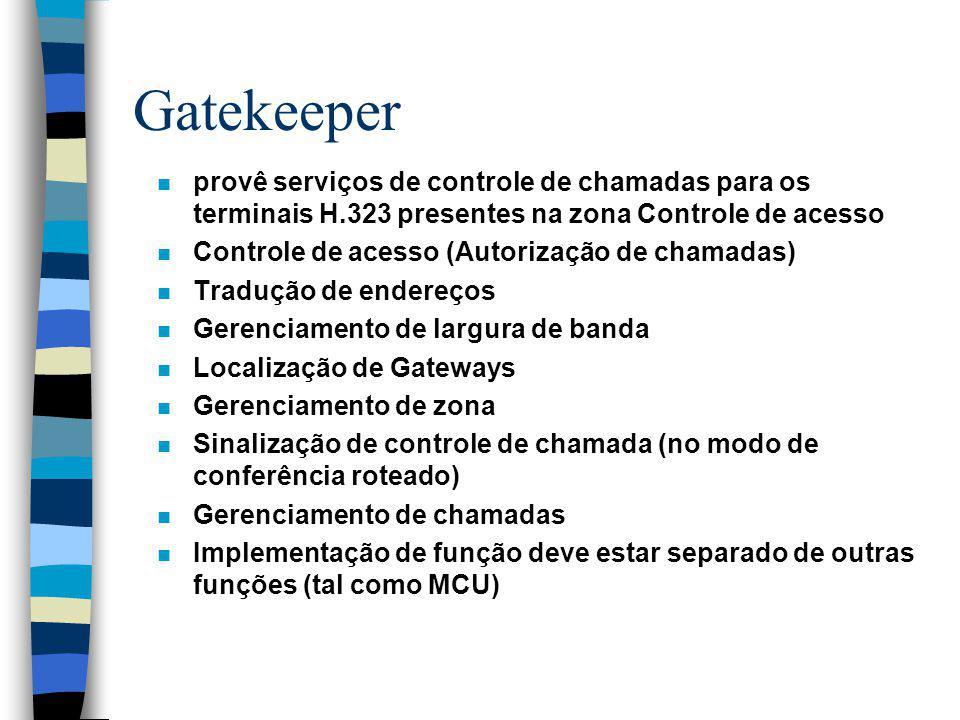 Gatekeeper provê serviços de controle de chamadas para os terminais H.323 presentes na zona Controle de acesso.